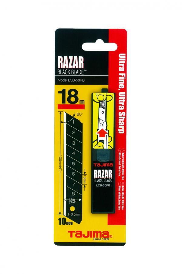Abbrechklingen | extra scharf, 18 mm, 10 Stück (Tajima Razar Black)