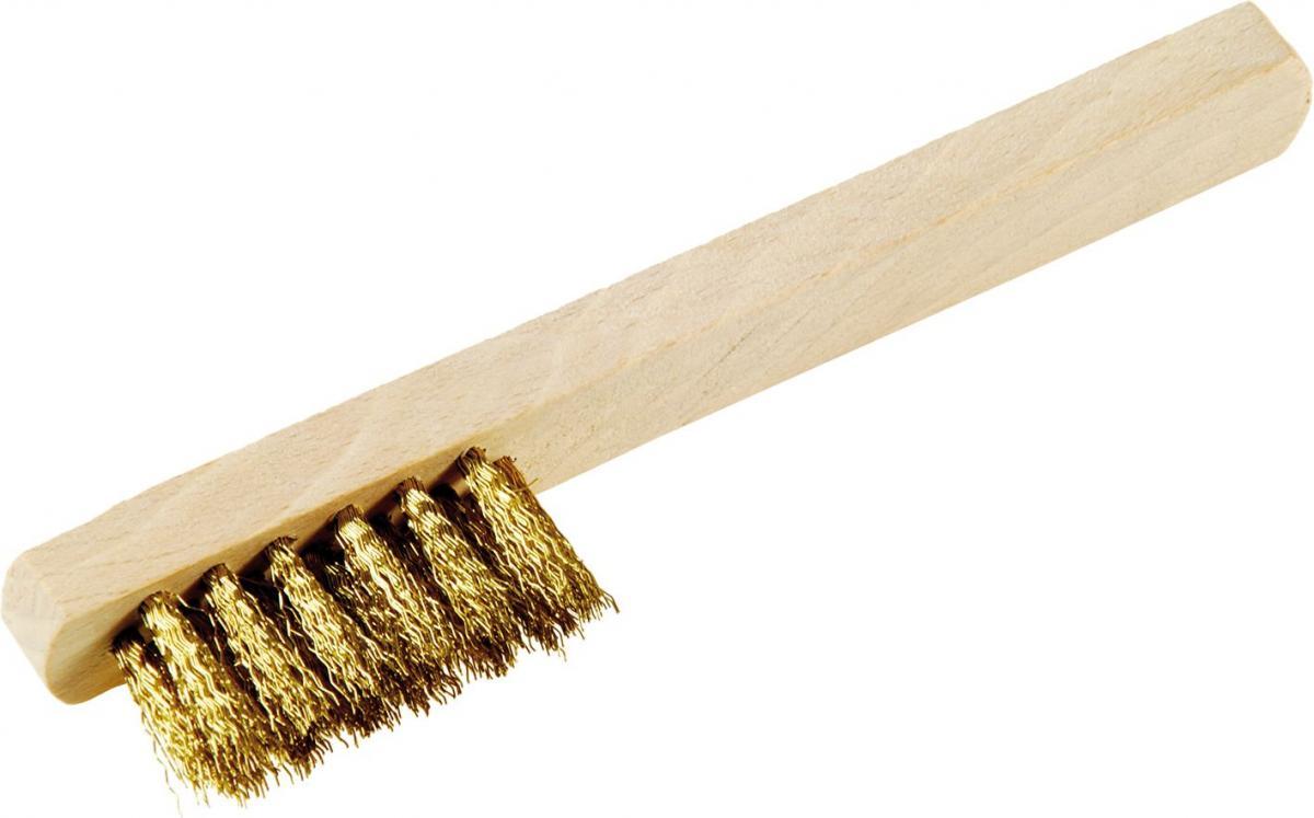 Messingbürste | gewellt, mit Holzgriff (Schwan)