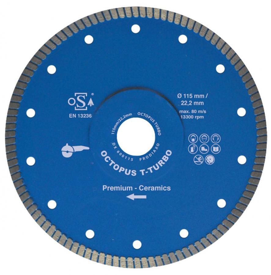 Diamant-Trennscheibe für Fliesen, Feinsteinzeug u.v.m.   Turbo-verzahnt Ø 125 x 22,2 mm x 1,4 mm