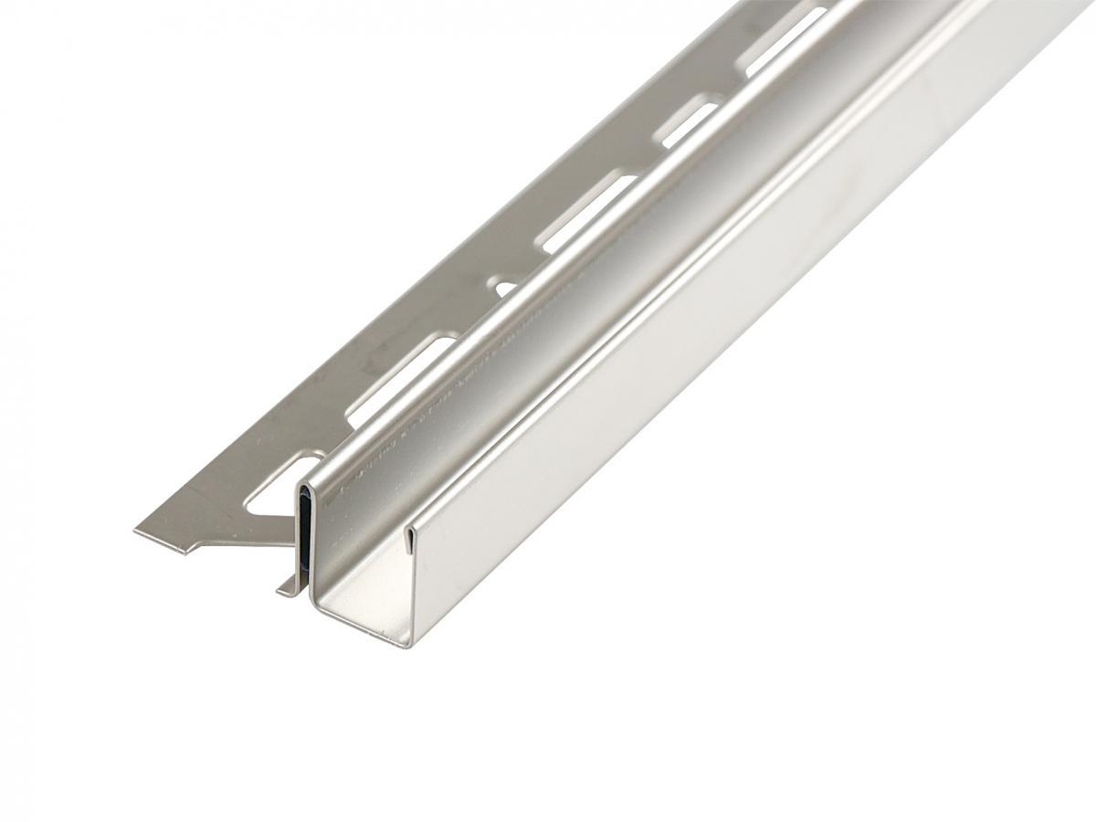 Fliesen-Duschwand-Profil / U-Profil   für 10 mm Glasstärke, Höhe 20 mm, Länge 2,0 m, Edelstahl V2A, geschliffen